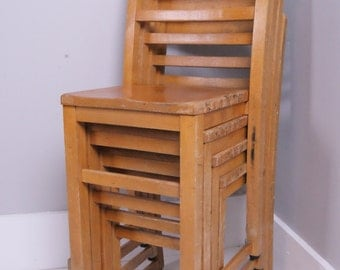 Children's Vintage Wooden School Stackable Chairs - Children's Furniture
