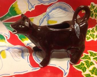 Vintage ceramic brown cow creamer