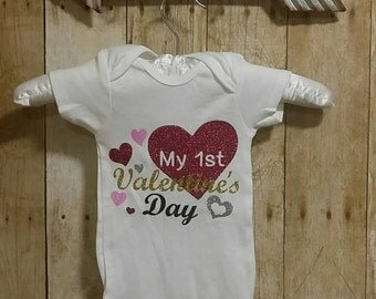 Personalized Custom,Glitter My First Valentine's Day Onesie, Valentine's Onesie. Baby Girl Valentine Outfit. Glitter Shirt. Valentine's Day.