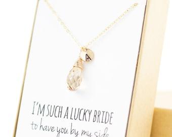 Bridesmaid Jewelry (Champagne Gold Swarovski Drop Necklace NS1)