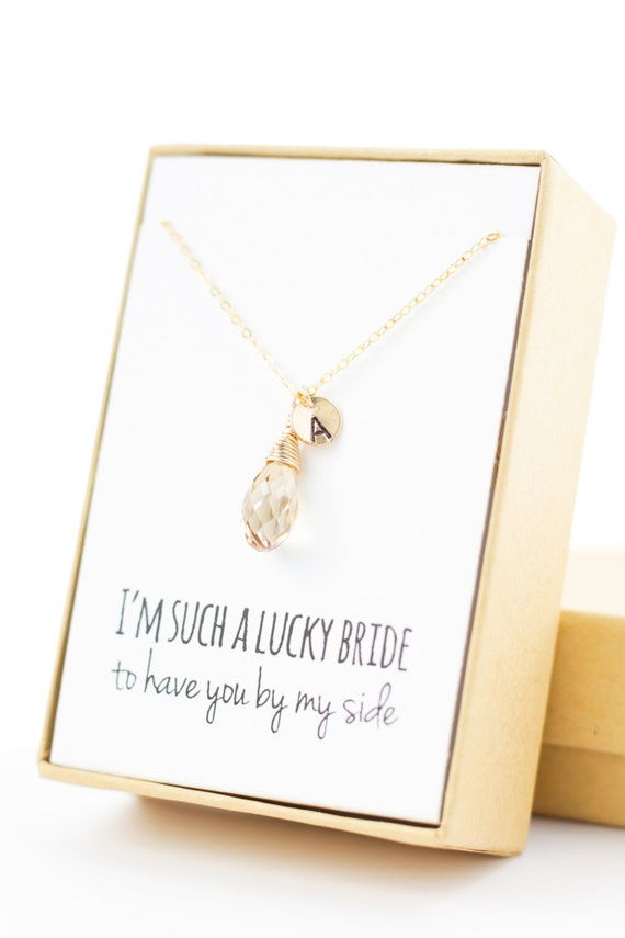 champagne gold swarovski drop necklace (small with letter)