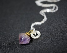 Genuine Amethyst Initial Necklace Silver,  Raw Amethyst Point Personalized Chakra Crystal healing Necklace, February Birthstone Pendant