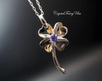 Four Petal Flower Necklace - Sterling Silver Flower Necklace
