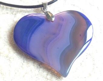114-Beautiful Unique Purple Lavender Heart Pendant, Lavender Agate Pendant Necklace, Purple Agate Pendant Necklace, Purple Agate Pendant