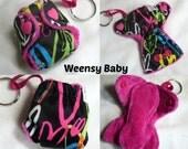 AI2 Cloth Diaper Keychain diaper charm! Tiny Cloth AI2 Neon Hearts diaper key chain with insert, Hearts PUL diaper ornament key chain diaper