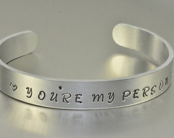 You're My Person Bracelet,Youre My Person Bracelet Cuff,Aluminum Cuff - 3/8,You're My Person Jewelry,Grey's Anatomy,Best Friend Gift,Xmas