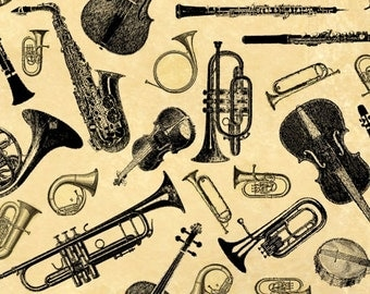 Music Fabric, Musical Instrument Fabric - Symphony Suite by Blank Quilting  A 7362 04 Cream  - Priced by Half yard