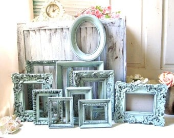 rustic mint picture frames shabby chic painted picture frames green ornate frames wedding - Mint Picture Frames