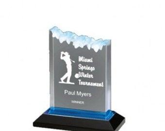 "Acrylic Frosted Impress Award-Blue-5""x6"""