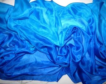 Silk Belly Dance Veil Blue and Turquoise Silk Veil