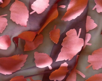 Silk Scarf Chiffon and Satin Scarf Falling Leaves In Salmon and Brown