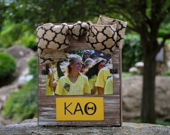 Kappa Alpha Theta Whitewashed Rustic Frame With Greek Letters