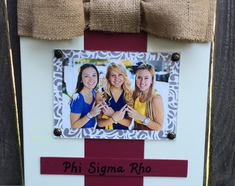 Phi Sigma Rho Large Bow Table Top Frame with Burlap Ribbon