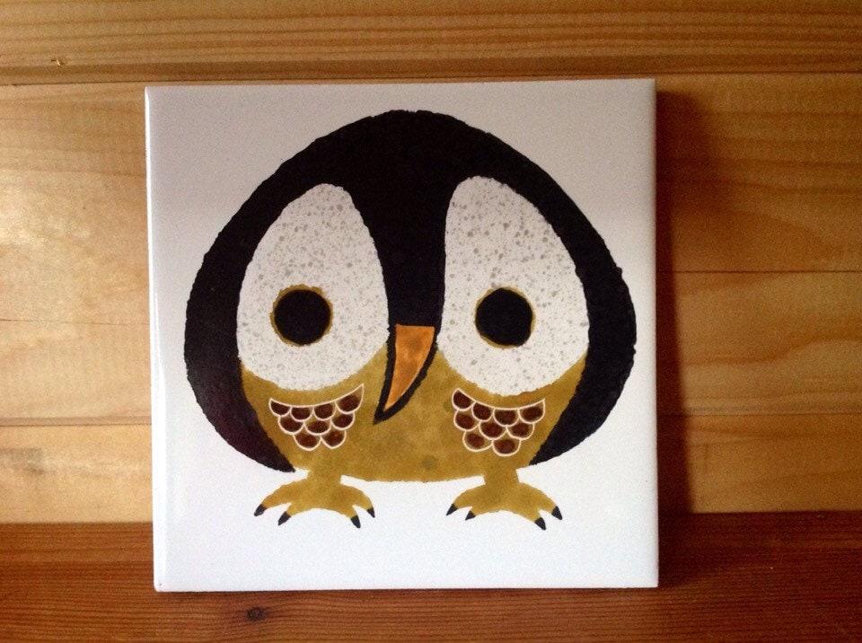 Owl Original Kenneth Townsend Ceramic Tile 1970s Menagerie