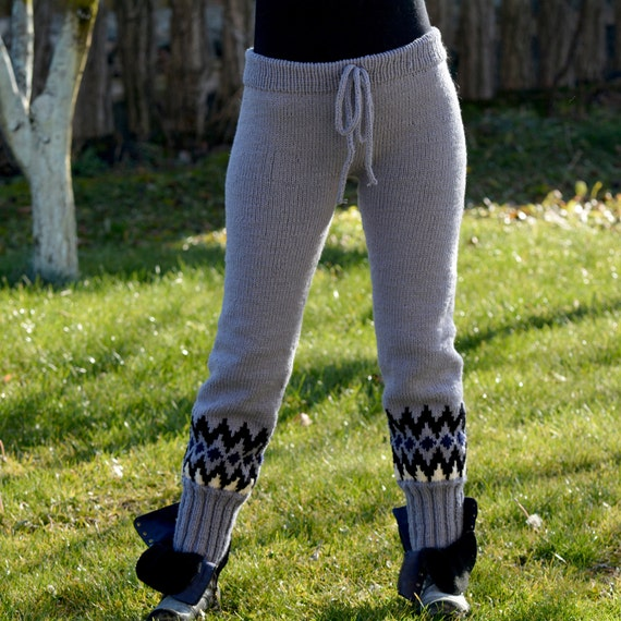 MADE to ORDER Hand Knit Wool Pants Sweater Grey Legwarmers
