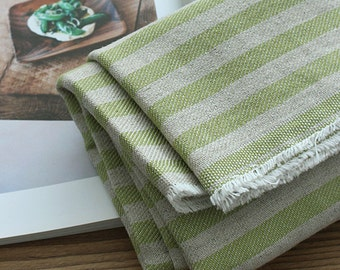 "Vintage Styles Cotton linen stripe Fabric by the Yard 44"" Wide Cozy green stripe"