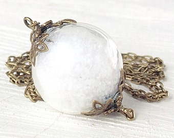 Snow Globe Necklace, Snowball, Winter Holiday Gift, Snowflakes Pendant