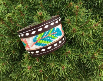 Beaded leather cuff