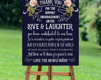 thank you wedding sign,  navy thank you sign, thank you sign, navy wedding sign, printable wedding sign, digital wedding sign, 20 x 30
