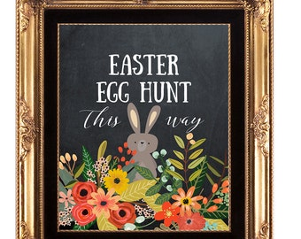 printable easter sign, easter egg hunt digital sign, chalkboard easter print, easter egg hunt printable, easter egg hunt sign, 8 x 10