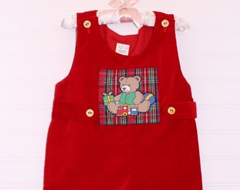 Vintage Christmas baby romper. Red velvet with teddy bear detailing, No name romper for 12 mo