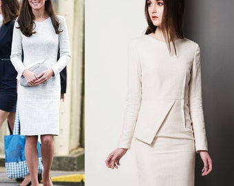 Tweed Dress/ Workdress/ Kate Middleton/ Dress/Peplum dress/ custom size/Custom made/Custom made dress