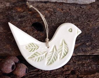 Ceramic Decorative Bird Handmade - Dove, Green and White, Wall, Garden Decoration, Christmas Tree Decoration