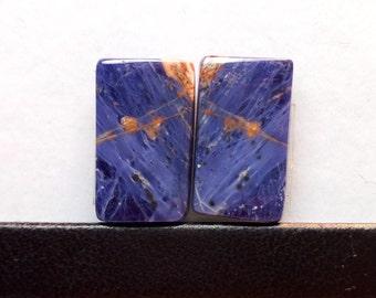 AAA+ Quality Natural Purple SODALITE Cabochon Pair Baguette Shape Gemstone / Sodalite 19x11.5x4mm Pairs Stone / Purple Sodalite Gemstones