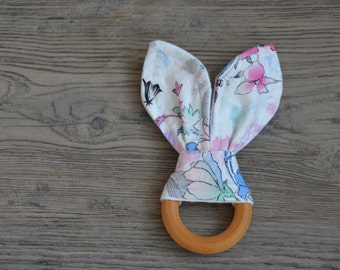 Wooden Teething Ring - Bunny Ears Teether - Watercolour Floral