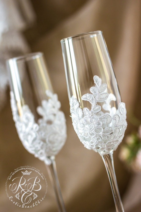 Wedding Champagne Flutes Vintage Wedding Glasses Lace