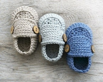 CASPER Crochet Baby Boy Loafers, Cotton Merino Baby Shoes, Shower Baby Gift, Natural Baby Shoes, Sizes 0-3 months, Ready to Ship