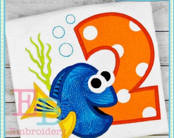 Miss Fish Applique Numbers - This design is to be used on an embroidery machine. Instant Download 4x4,5x7,9x9,6x10