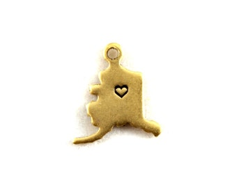 2x Brass Alaska State Charms w/ Hearts - M073/H-AK