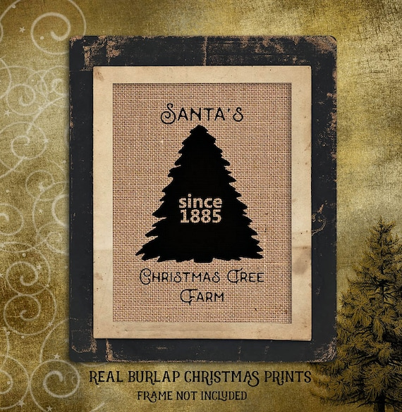 Christmas | Santas Christmas Tree Farm | Holiday |  Burlap Print | Personalized | # C-010
