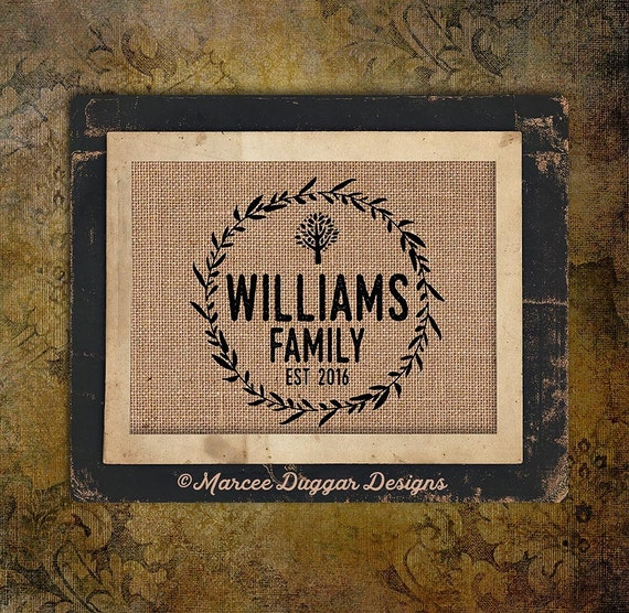 Family Name | Family Tree | Est Date | Family Name | New Home | Reunion | Burlap Print | Personalized | #0219