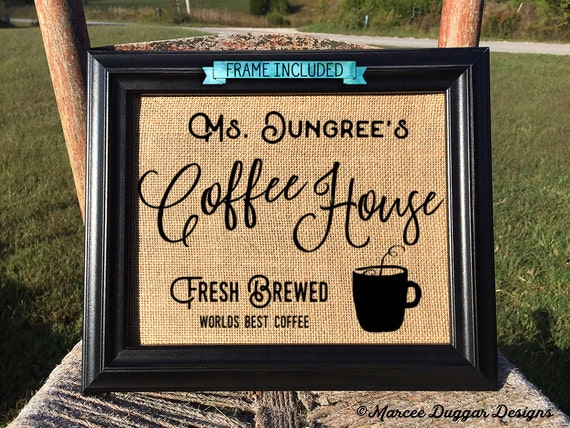 Framed Coffee House | Fresh Brewed| Housewarming Gift | Personalized | Java | #0210