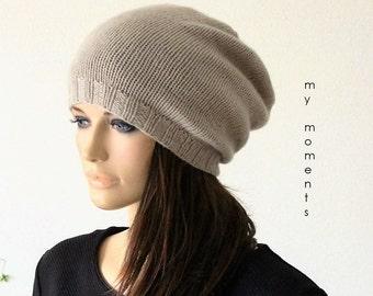 Knit CAP, Cashmere / Merino, sand