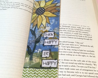Sunflower Bookmark, Be Happy Bookmark