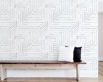 Removable Wallpaper, Self-adhesive Wallpaper, Scandinavian, Monochrome, Shapes, Abstract, Black, White, Sticker. Maze Wallpaper - White