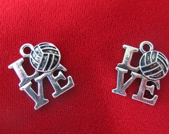 """BULK! 15pc """"Volleyball"""" charms in antique silver style (BC423B)"""