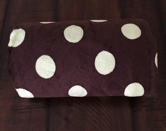 Chocolate brown and green polka dots minky stroller blanket