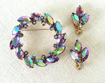 Aurora borealis  brooch and clip on earrings set