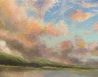 Summer Sunrise over Lake Maranacook original impressionist oil painting
