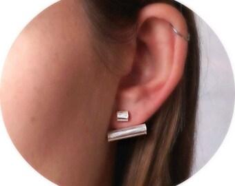 Ear climbers, Ear Jacket Earrings, Ear Jackets, Silver Ear Jackets, Gifts for her, Line Ear Jacket Earrings, Front Back Ear jackets