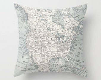 Map Pillow - North American map - beautiful, Canada, United States,   unique, retro, blue and white