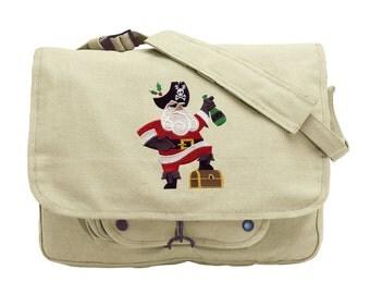 Pirate Santa Embroidered Canvas Messenger Bag
