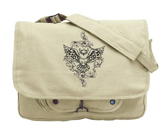 Toile Noir - Owl Embroidered Canvas Messenger Bag
