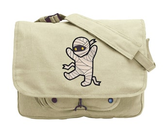 Too Cute Mummy Embroidered Canvas Messenger Bag