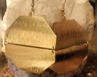 "Gold Octagon Hinge Earrings 2.5"""