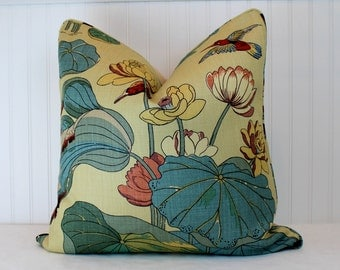 One or Both Sides - ONE GP&J Baker Nympheus Aqua-Sand Pillow Cover with Self Cording